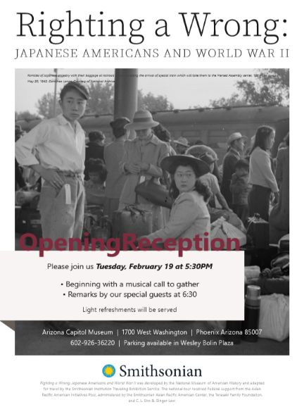 Flyer for the Righting a Wrong exhibition with a photo of a Japanese Internment Camp