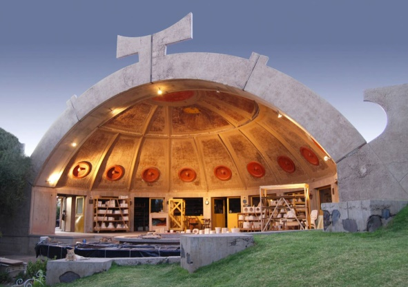 A foundry building in Arcosanti that blends architecture with ecology
